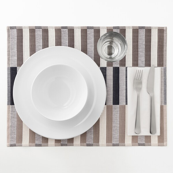 MITTBIT place mat black beige/white 45 cm 35 cm