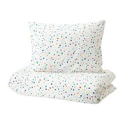 MÖJLIGHET quilt cover and pillowcase, white, mosaic patterned