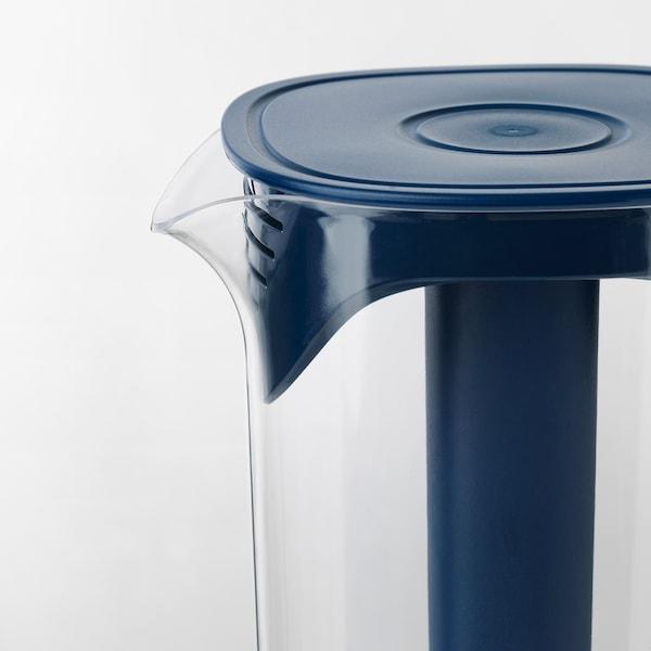 MOPPA Jug with lid, dark blue/transparent, 1.7 l