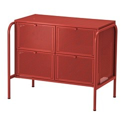 NIKKEBY chest of 4 drawers, red