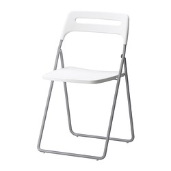 NISSE folding chair, silver-colour/white