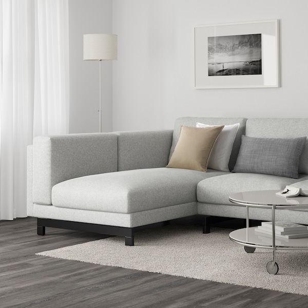 NOCKEBY 3-seat sofa, with chaise longue, left/Tallmyra white/black/wood