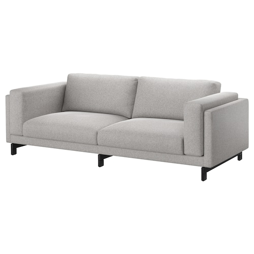 NOCKEBY three-seat sofa Tallmyra white/black/wood 251 cm 97 cm 82 cm 15 cm 60 cm 44 cm
