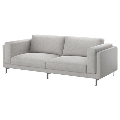 NOCKEBY three-seat sofa Tallmyra white/black/chrome-plated 251 cm 97 cm 82 cm 15 cm 60 cm 44 cm
