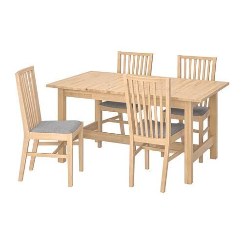 NORDEN / NORRNÄS Table and 4 chairs, birch, Isunda grey