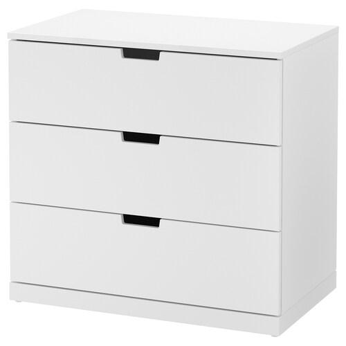NORDLI chest of 3 drawers white 80 cm 47 cm 76 cm 37 cm