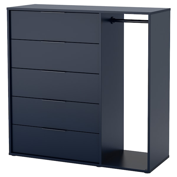 NORDMELA Chest of drawers with clothes rail, black-blue, 119x118 cm