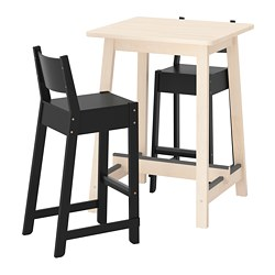 NORRÅKER /  NORRÅKER bar table and 2 bar stools, birch, black