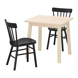 NORRÅKER /  NORRARYD table and 2 chairs, birch, black