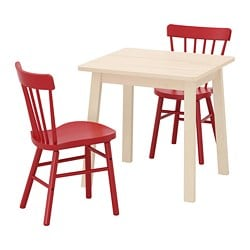 NORRÅKER /  NORRARYD table and 2 chairs, birch, red