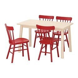 NORRÅKER /  NORRARYD table and 4 chairs, birch, red