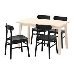 NORRÅKER /  RÖNNINGE table and 4 chairs, birch, black