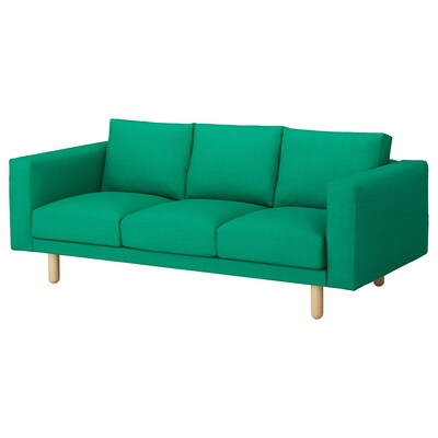 NORSBORG 3-seat sofa, Edum bright green/birch