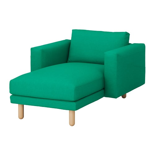 Norsborg chaise longue edum bright green birch ikea for Chaise en osier ikea