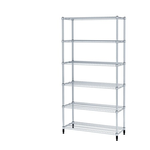 OMAR 1 shelf section IKEA Easy to assemble – no tools required.  Also stands steady on an uneven floor since the feet can be adjusted.