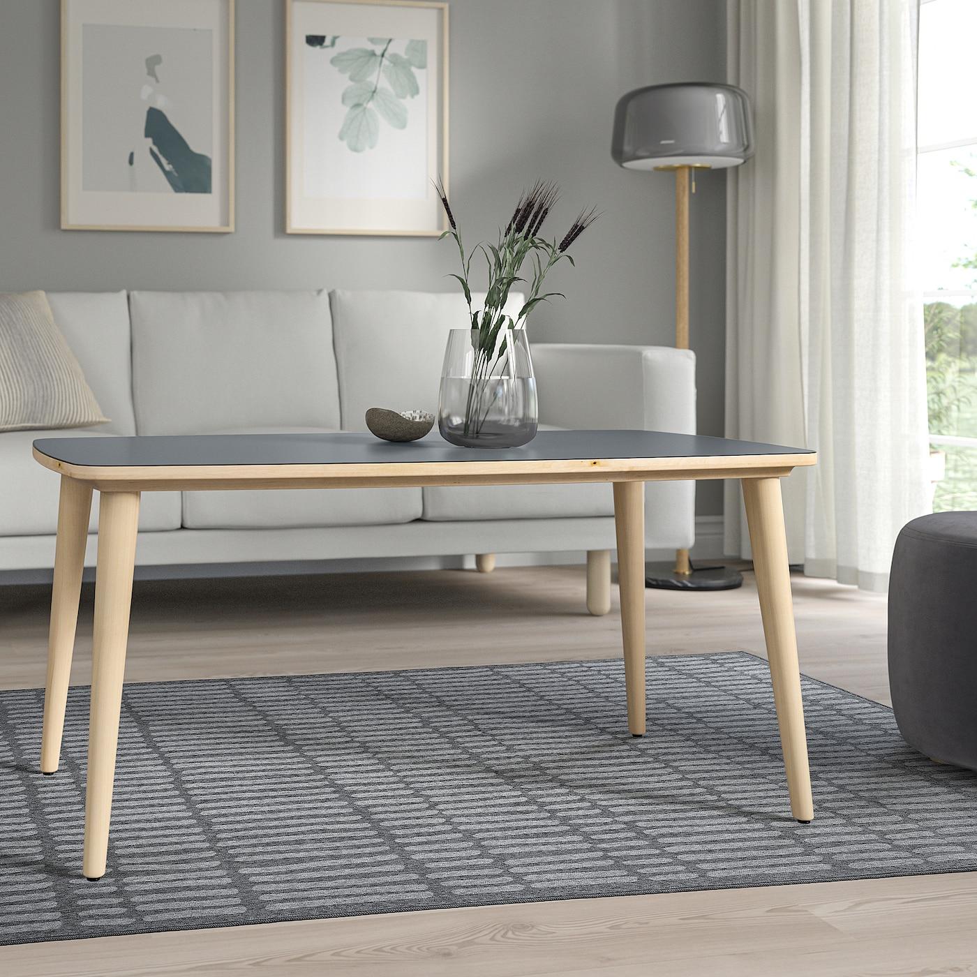 OMTÄNKSAM coffee table anthracite/birch 115 cm 60 cm 55 cm