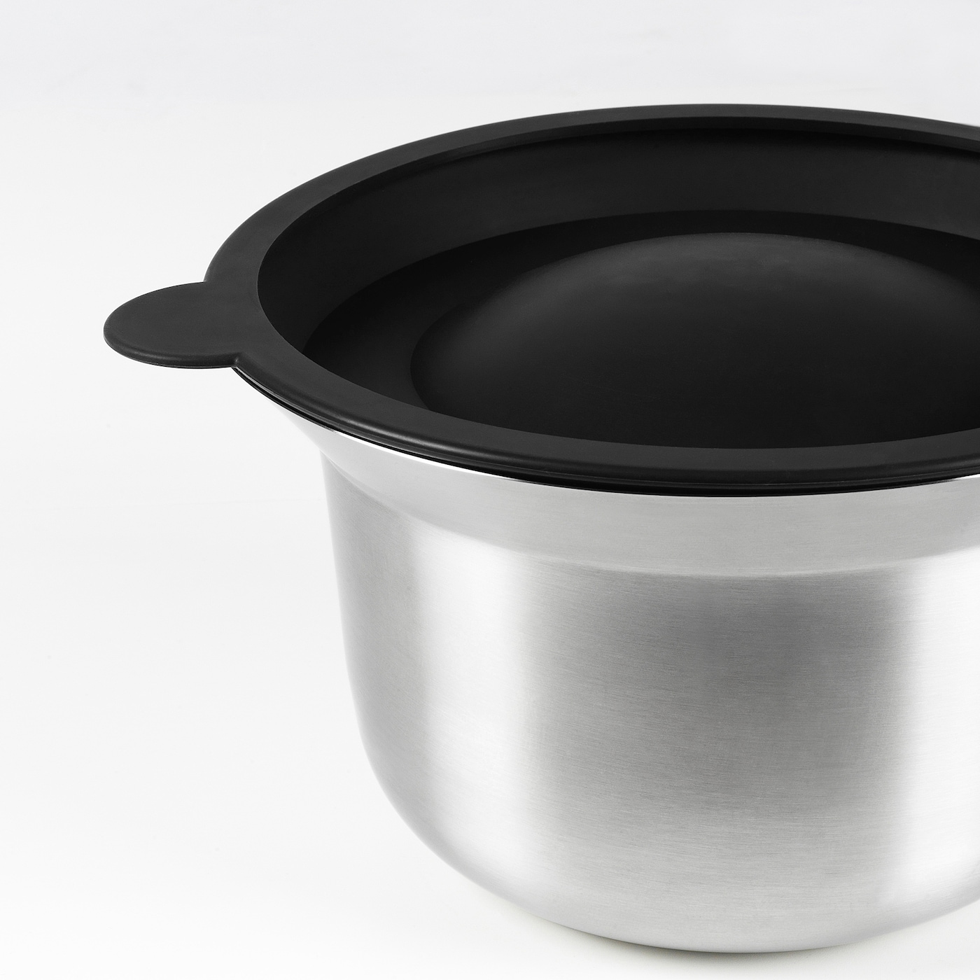 OMTÄNKSAM Mixing bowl with lid, stainless steel/light grey, 2.5 l