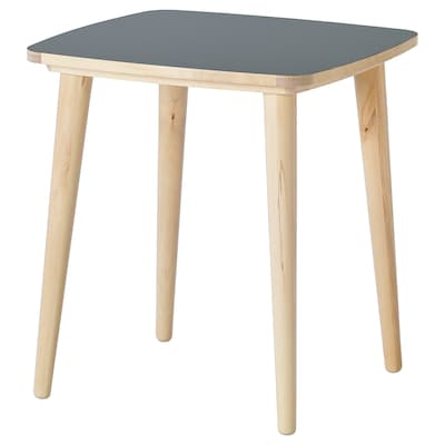 OMTÄNKSAM Side table, anthracite/birch, 55x55 cm
