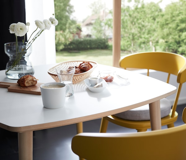 OMTÄNKSAM Table, white/birch, 95x95 cm