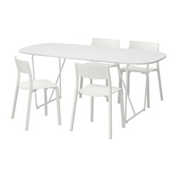 OPPEBY/ BACKARYD /  JANINGE table and 4 chairs, white, white