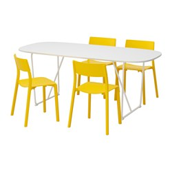 OPPEBY/ BACKARYD /  JANINGE table and 4 chairs, white, yellow