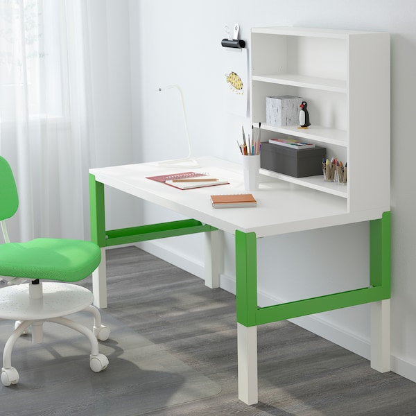 Pahl Desk With Shelf Unit White Green Ikea