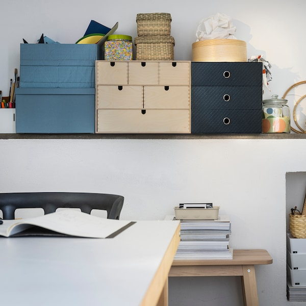 PALLRA Mini chest with 3 drawers, black, 33x26 cm