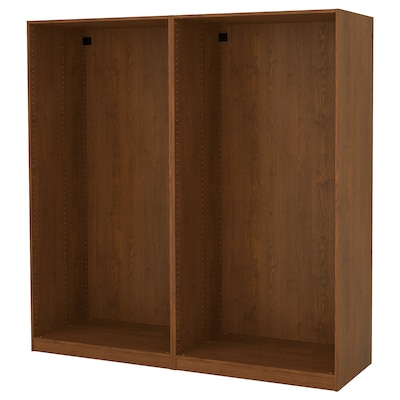 PAX 2 wardrobe frames, brown stained ash effect, 200x58x201 cm