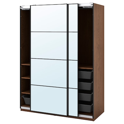 PAX / AULI Wardrobe combination, brown stained ash effect/mirror glass, 150x66x201 cm