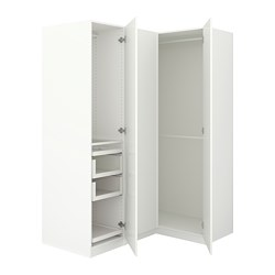 PAX corner wardrobe, white, Fardal high-gloss/white