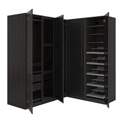 PAX corner wardrobe, black-brown Undredal, Undredal glass