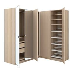 PAX corner wardrobe, white stained oak effect, Forsand Vikedal