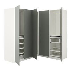 PAX corner wardrobe, white, Reinsvoll grey-green