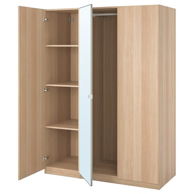 PAX / FORSAND/VIKEDAL Wardrobe combination, white stained oak effect/mirror glass, 150x60x201 cm