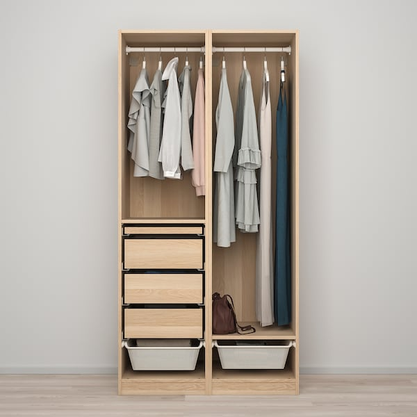 PAX / FORSAND Wardrobe combination, white stained oak effect, 100x60x201 cm