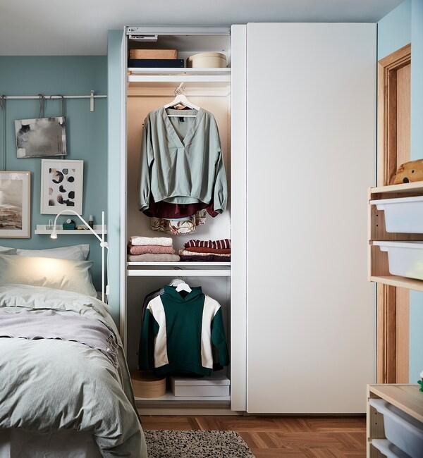 PAX / HASVIK Wardrobe combination, white, 150x44x236 cm