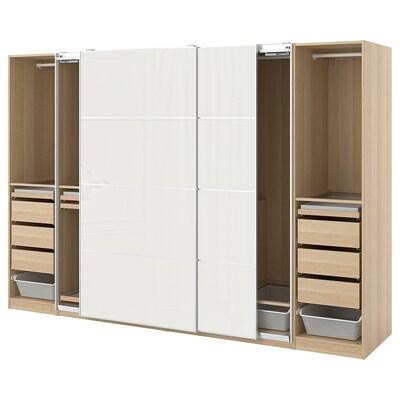 PAX / HOKKSUND Wardrobe combination, white stained oak effect/high-gloss light grey, 300x66x201 cm