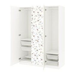 PAX /  MARNARDAL wardrobe, white, flower patterned Marnardal