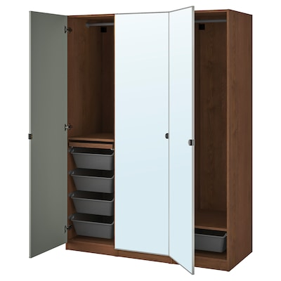 PAX / VIKEDAL Wardrobe combination, brown stained ash effect/mirror glass, 150x60x201 cm