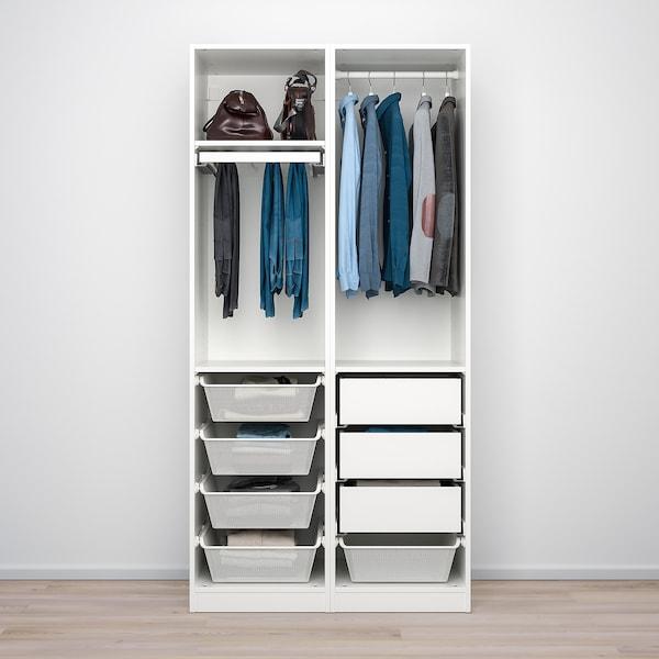PAX / VINGROM Wardrobe combination, white/Resjön white, 100x60x201 cm