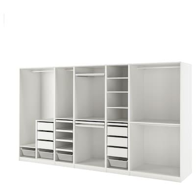 PAX Wardrobe combination, white, 375x58x201 cm