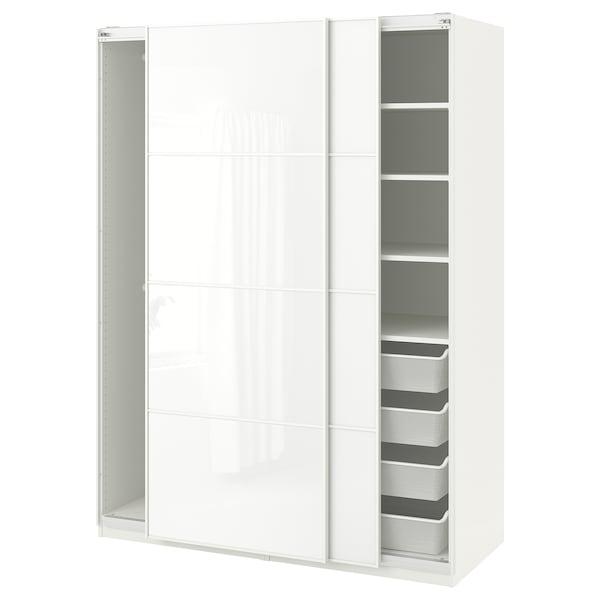 PAX Wardrobe, white/Färvik white glass, 150x66x201 cm