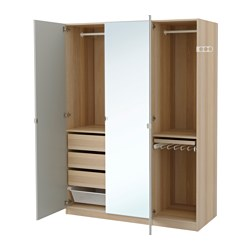 PAX wardrobe, white stained oak effect, Vikedal