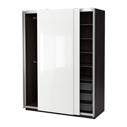 PAX wardrobe, black-brown, Hasvik high-gloss/white