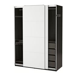 PAX wardrobe, black-brown, Färvik white glass