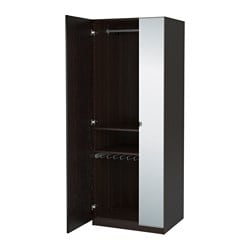 PAX wardrobe, black-brown, Forsand Vikedal