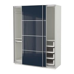 PAX wardrobe, white Hokksund, high-gloss black-blue dark blue