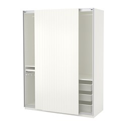 PAX wardrobe, white, Svorkmo striped white/beige