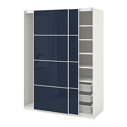 PAX wardrobe, white Hokksund, high-gloss black-blue