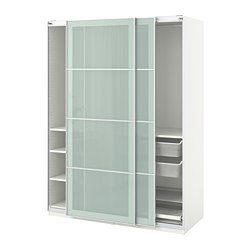 PAX wardrobe, white, Sekken frosted glass